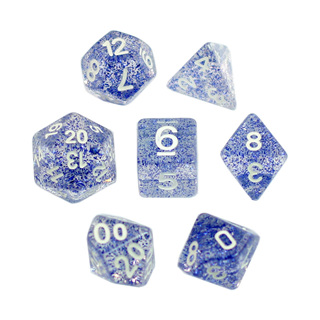 7 Blue with White Glitter Dice