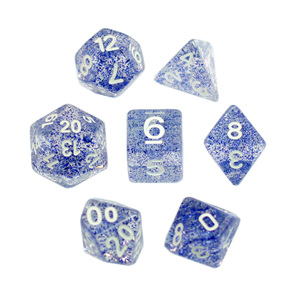 7 Blue with White Glitter Polyhedral Dice Games and Hobbies New Zealand NZ