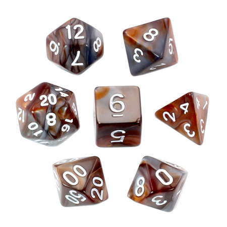 7 Bronze & Steel with White Fusion Dice