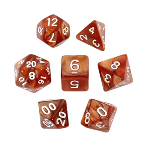 7 Brown Marble Polyhedral Dice with White Numbers Games and Hobbies NZ