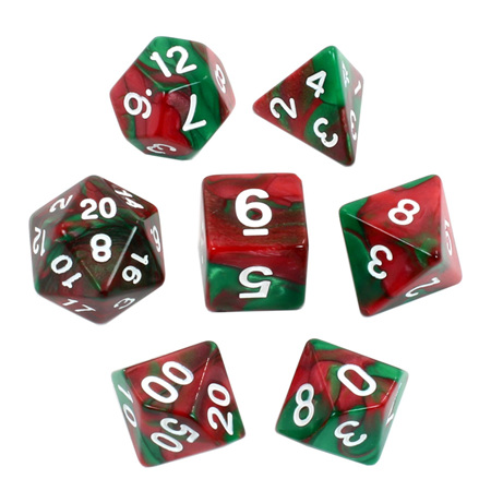 7 Burgundy & Emerald with White Fusion Dice