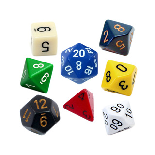 7 Chessex Opaque Polyhedral Dice