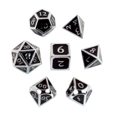 7 'Chrome' with Black Vintage Metal Dice