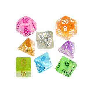 7 Confetti Polyhedral Dice
