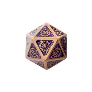 7 Copper with Purple Glitter Steampunk Metal Polyhedral Dice Games and Hobbies