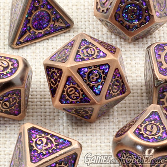 7 'Copper' with Purple Steampunk Glitter Metal Dice Games and Hobbies NZ