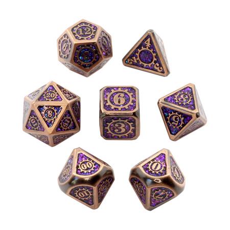7 'Copper' with Purple Steampunk Glitter Metal Dice
