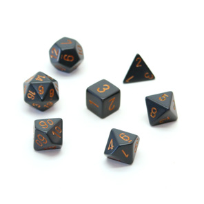 7 Dark Grey with Copper Spots Polyhedral Dice New Zealand