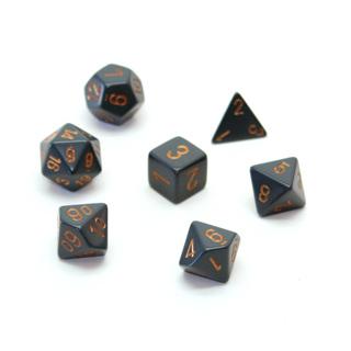 7 Dark Grey with Copper Opaque Dice