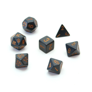 7 Grey with Copper Opaque Dice