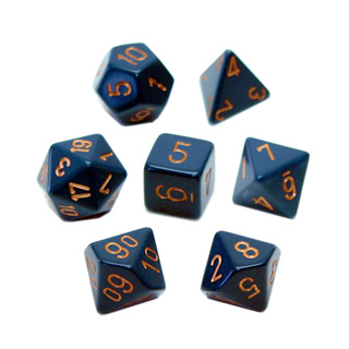 7 Dusty Blue with Gold Opaque Dice