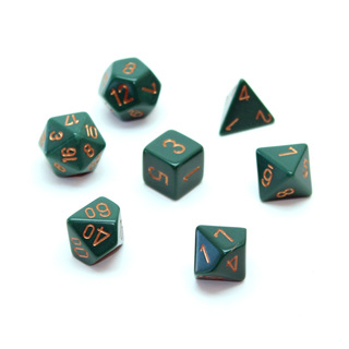 7 Dusty Green with Gold Opaque Dice