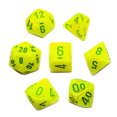 7 Electric Yellow with Green Vortex Dice