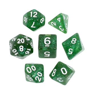 7 Emerald Green with White Glitter Dice