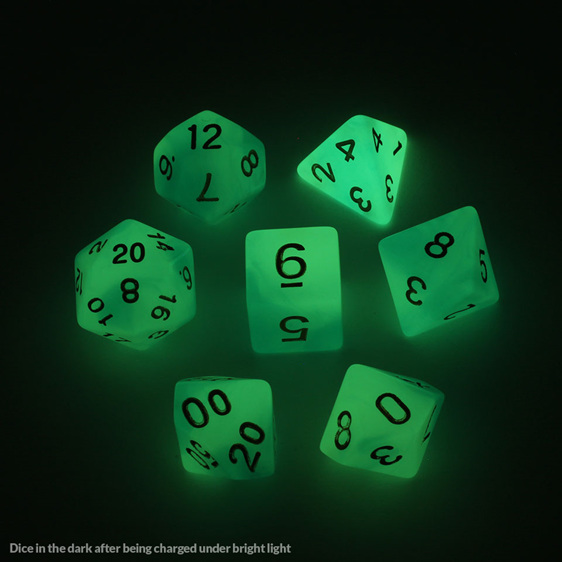 7 Faded Blue Glow in the Dark Polyhedral Dice with Gold Games and Hobbies NZ