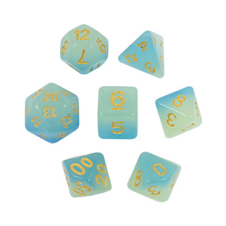 7 Faded Blue Glow in the Dark Dice