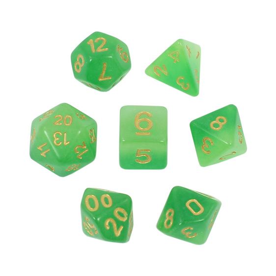 7 Faded Green Glow in the Dark Polyhedral Dice with Gold Games and Hobbies NZ