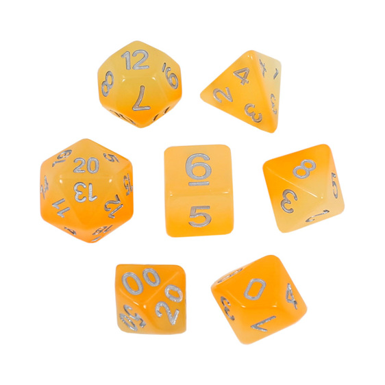 7 Faded Orange Glow in the Dark Polyhedral Dice with Silver Games and Hobbies NZ