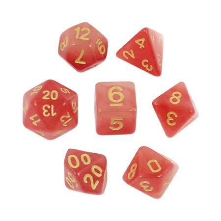 7 Faded Red Glow in the Dark Dice