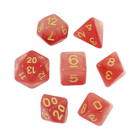7 Faded Red Glow in the Dark Polyhedral Dice with Gold Games and Hobbies NZ