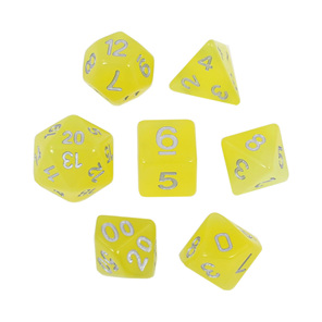 7 Faded Yellow Glow in the Dark Polyhedral Dice with Silver Games and Hobbies NZ
