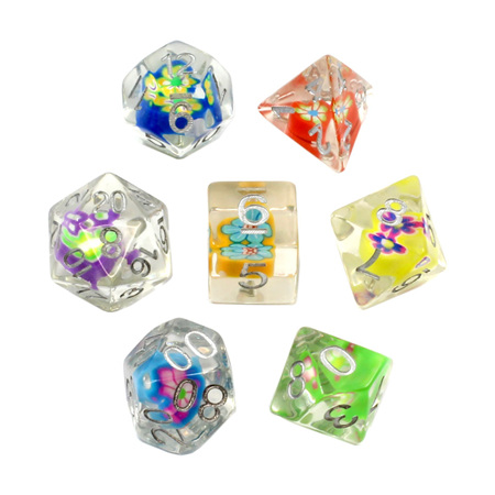 7 Floral Hearts Dice