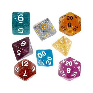 7 Glitter Polyhedral Dice