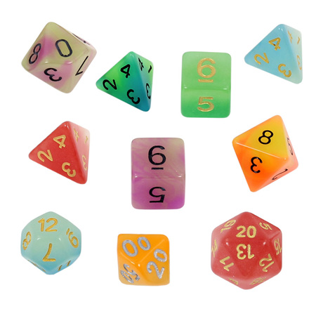 7 'Glow in the Dark' Polyhedral Dice