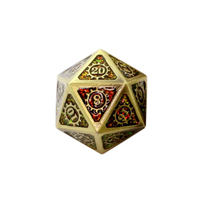 7 Gold with Amber Glitter Steampunk Metal Polyhedral Dice Games and Hobbies