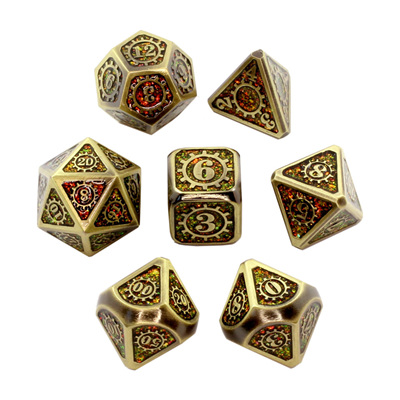 7 'Gold' with Amber Steampunk Glitter Metal Dice