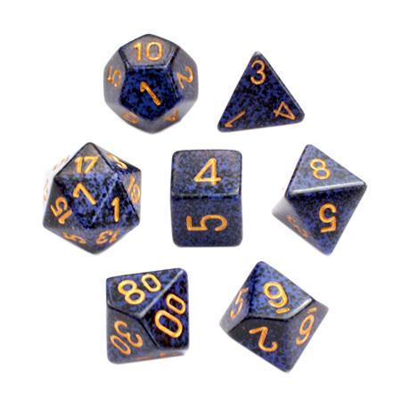 7 'Golden Cobalt' Speckled Dice