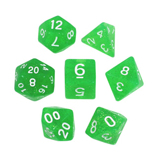 7 Green with White Glitter Dice