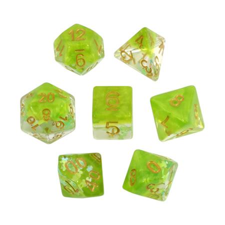 7 Green Jigsaw Confetti Dice