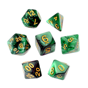7 Green Marbled Polyhedral Dice with Gold Numbers Games and Hobbies NZ