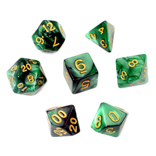 7 Green Marbled Polyhedral Dice with Gold Numbers