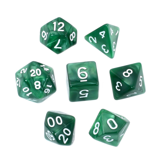 7 Green Marbled Polyhedral Dice with White Numbers Games and Hobbies NZ