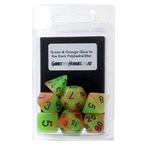 7 Green & Orange Glow in the Dark Polyhedral Dice with Black Games and Hobbies