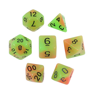 7 Green  & Orange Glow in the Dark Dice