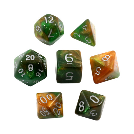 7 Green & Orange with Silver Stardust Dice