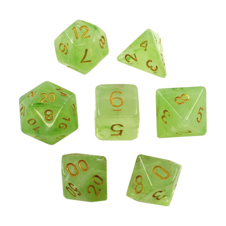 7 Green Pastel with Gold Vapour Dice