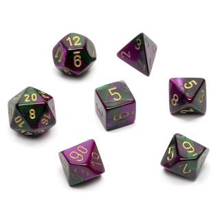 7 Green & Purple with Gold Gemini Dice