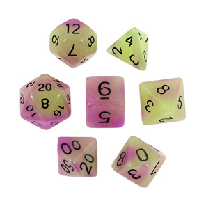 7 Green & Purple Glow in the Dark Polyhedral Dice with Black Games and Hobbies