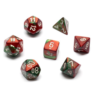 7 Green & Red with White Gemini Dice