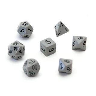 7 Grey with Black Opaque Dice