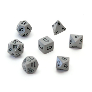 7 Grey with Black Opaque Dice