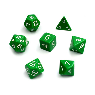 7 Green with White Opaque Dice