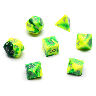 7 Green & Yellow with Silver Gemini Dice