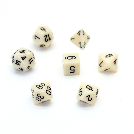 7 Ivory with Black Opaque Dice