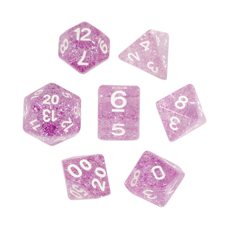 7 Light Pink with White Glitter Dice
