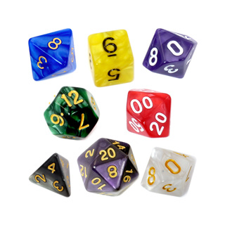 7 Marble Polyhedral Dice
